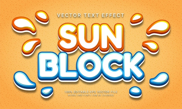 Sun block editable text effect theme skin protective cream