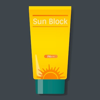 Sun block protection yellow tube vector illustration