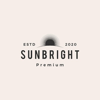 Sun bright hipster vintage logo vector icon illustration