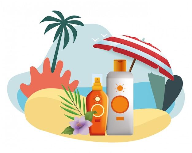Sun bronzer bottles with flower under beach umbrella