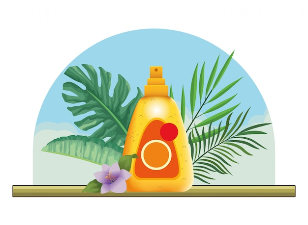 Sun bronzer splash with leaves and flower