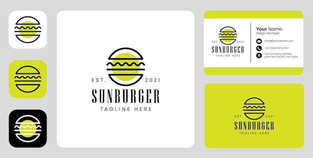 Sun burger logo with stationary design