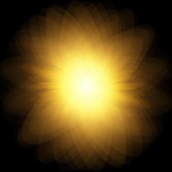サンバースト爆発、光線と黒の背景に輝く太陽