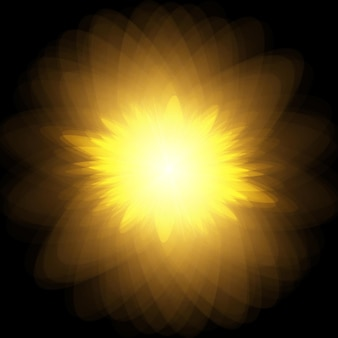 Sun burst explosion vector yellow sun with rays and glow on black background