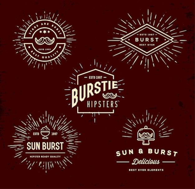 Sun burst vintage log collection set
