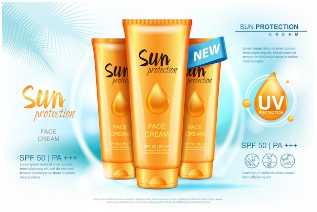 Sun care cream tubes, sun protection cosmetic products.  illustration for magazine, ads template.