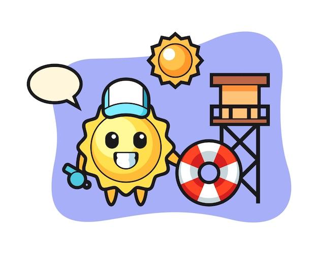 Sun cartoon as a beach guard