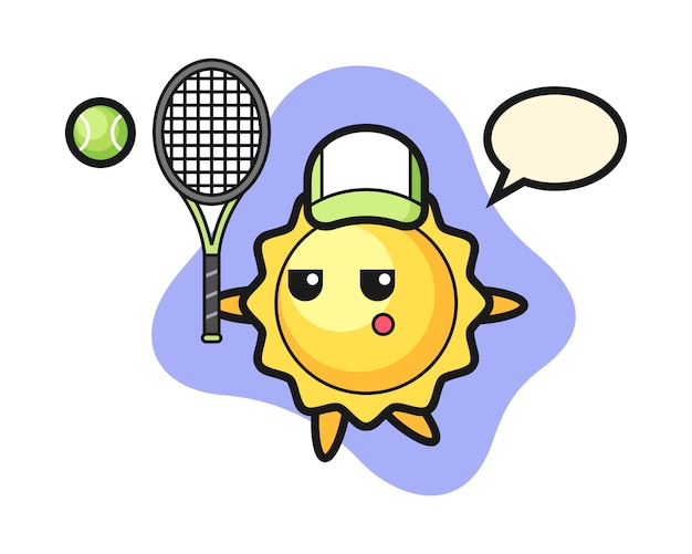 Sun cartoon as a tennis player