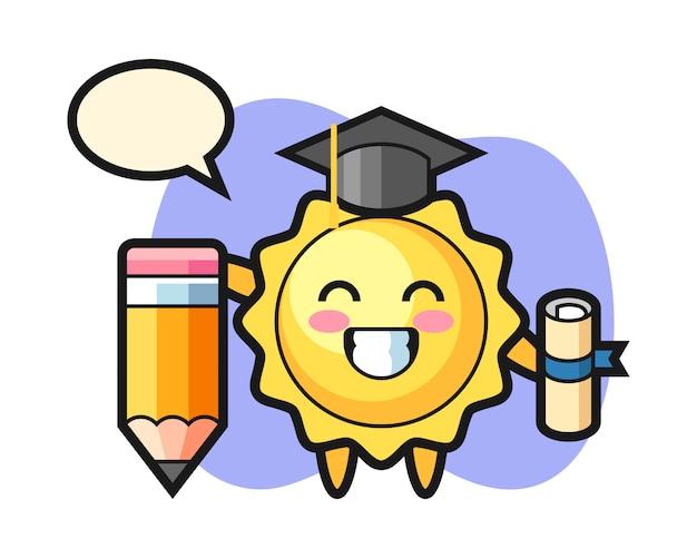巨大な鉛筆で太陽漫画卒業