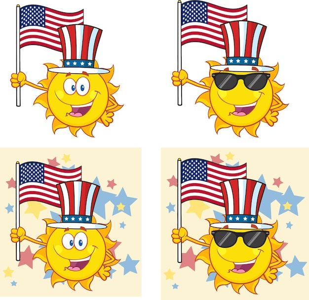 Sun cartoon mascot character set collection isolated on white