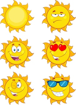 Sun cartoon mascot characters set collection isolated on white