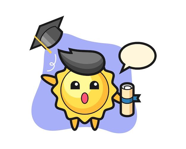 卒業式で帽子を投げる太陽漫画
