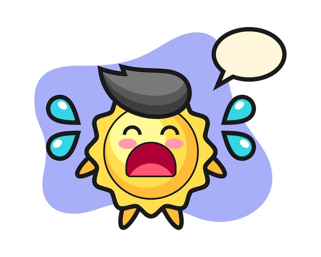 Sun cartoon with crying gesture