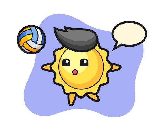 Sun cartoon играет в волейбол