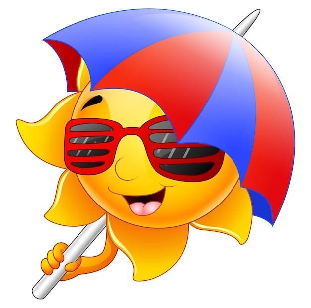 Sun character cartoon with sunglasses and umbrella