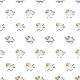 太陽、雲、雨のシームレスなパターン。天気現象のテーマイラスト