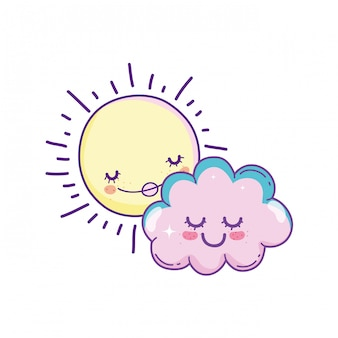 Sun and clouds cartoons
