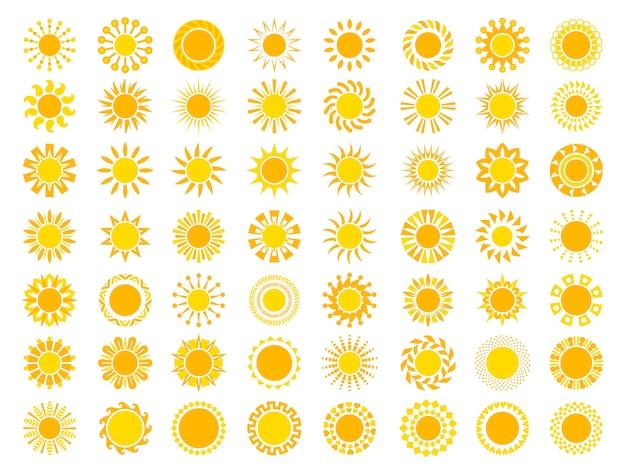 Sun collection. yellow sunrise symbols nature stylized icon of sun