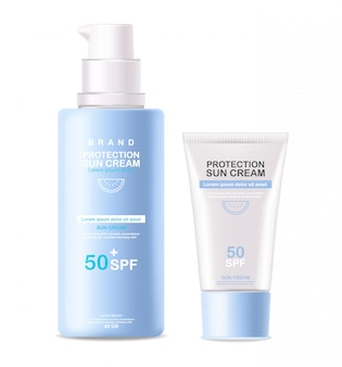 太陽のクリームボトル3 d現実的な分離、保護太陽のクリーム、spf 50夏の化粧品のイラスト