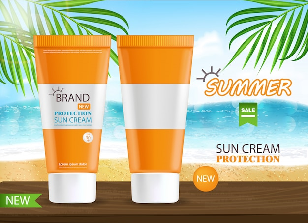 Sun Cream Bottle Realistic Isolated Sea Background Tropical Banner Packaging Protection Sun Cream Summer Cosmetic Premium Vector
