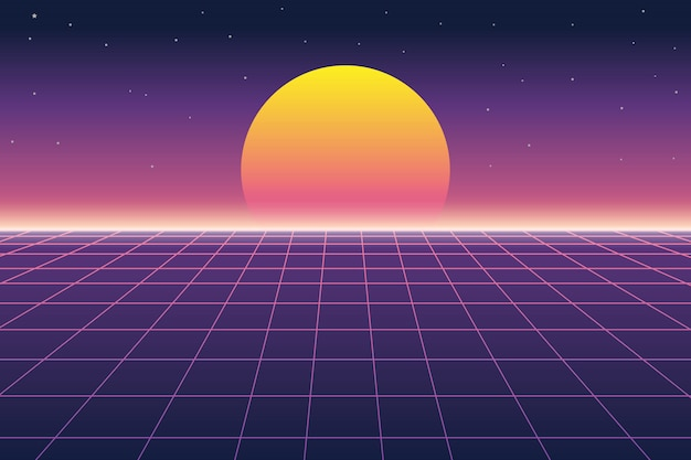 Sun and digital landscape in retro futuristic background