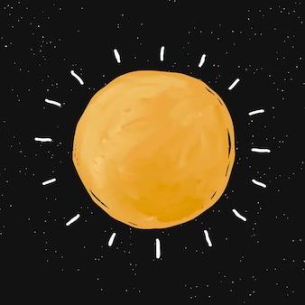 Рисунок солнца, каракули значок вектора, милая галактика иллюстрация