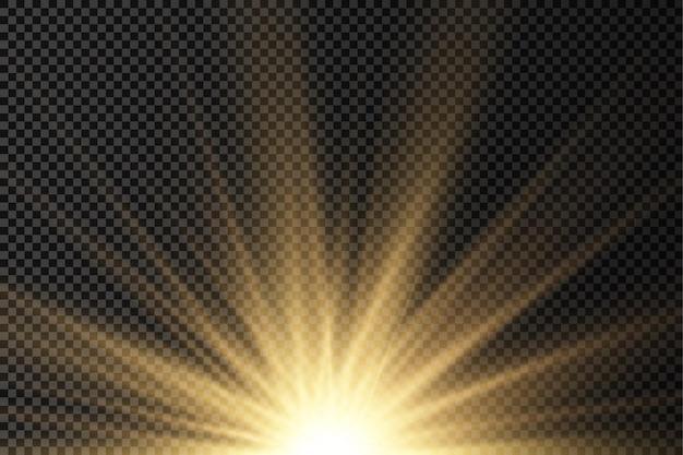 Солнце взрыв желтый свет сияние огни солнечные лучи вспышка специальный эффект волшебные блестки золотая звезда