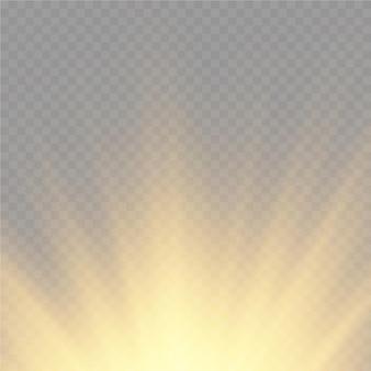 太陽爆発黄色のグローライト太陽光線フレア特殊効果魔法の輝き黄金の星