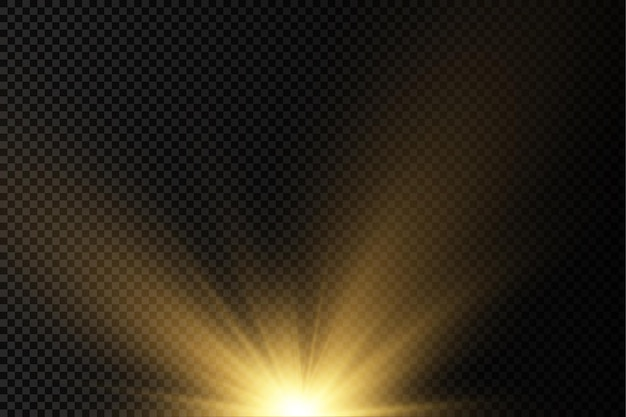 Sun explosion yellow glow lights sun rays flare special effect magic sparkles golden star