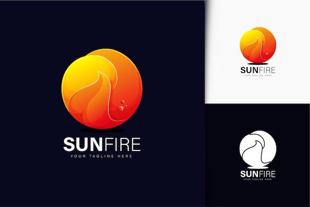 グラデーションの太陽の火のロゴデザイン