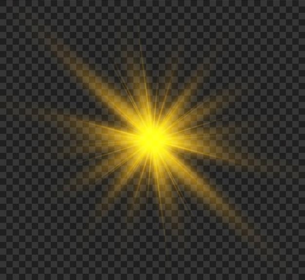 太陽フレア。明るい光線で美しい明るい魔法のライジングスター。きらめく光のグラフィック。