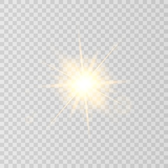 Sun flare isolated on transparent background