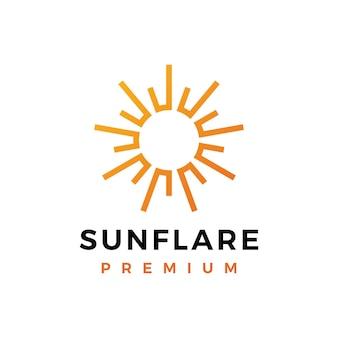 白で隔離の太陽フレアライト明るい輝きのロゴ
