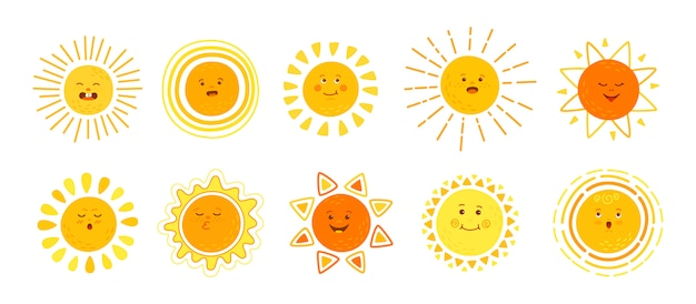 Sun flat set. hand drawn cute suns. funny yellow childish sunny emoticons collection. smiling sun with sunbeams cartoon character. emoji summer emoticons. isolated  illustration white background