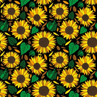 Sun flower blossom seamless pattern in black background