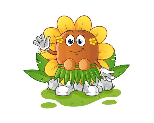太陽の花ハワイアン手を振るキャラクター