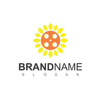 Sun flower logo design template