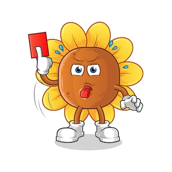 Sun flower referee with red card illustration