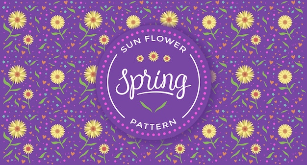 Sun flower spring pattern with purple background