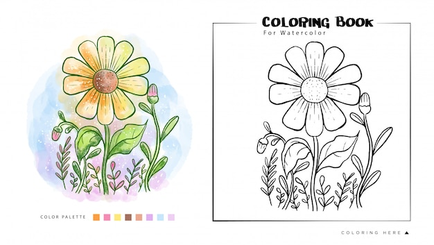 Sun flower watercolor painting illustration