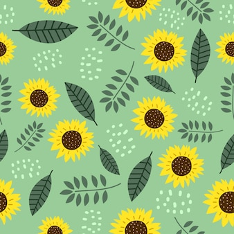 Sun flowers seamless pattern with cute drawing botanical decoration