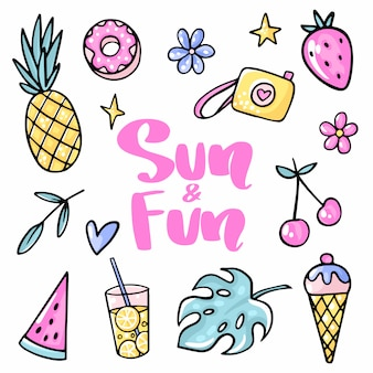 Sun and fun. pineapple, strawberry, cherry, ice cream, watermelon, tropical leaf, lemonade, flower, donut.