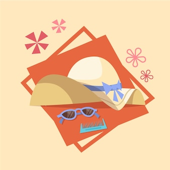 Sun glasses and straw hat icon summer sea vacation concept summertime holiday