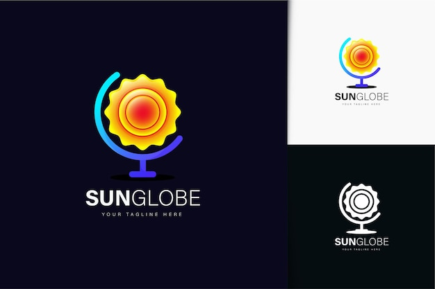 Дизайн логотипа глобус солнца с градиентом