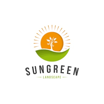 Sun green пейзаж логотип