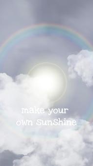Шаблон неба в векторе ореола солнца для истории в социальных сетях