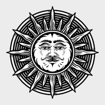 Sun hand drawn engraving style illustrations