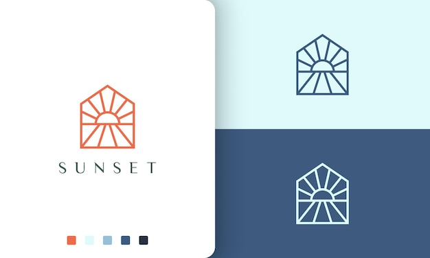Sun or hotel logo on the beach in simple and modern style