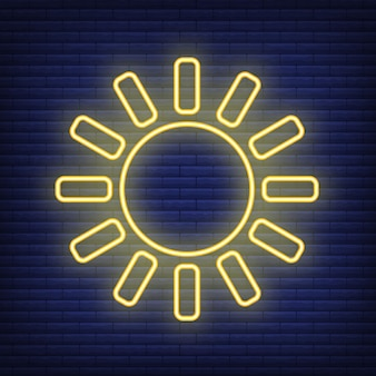 Sun icon glow neon style, concept weather condition outline flat vector illustration, isolated on black. brick background, web climate label stuff.