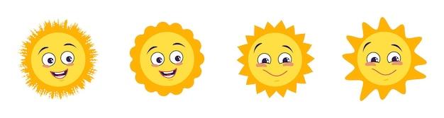 Набор иконок солнца с разными эмоциями изолированы